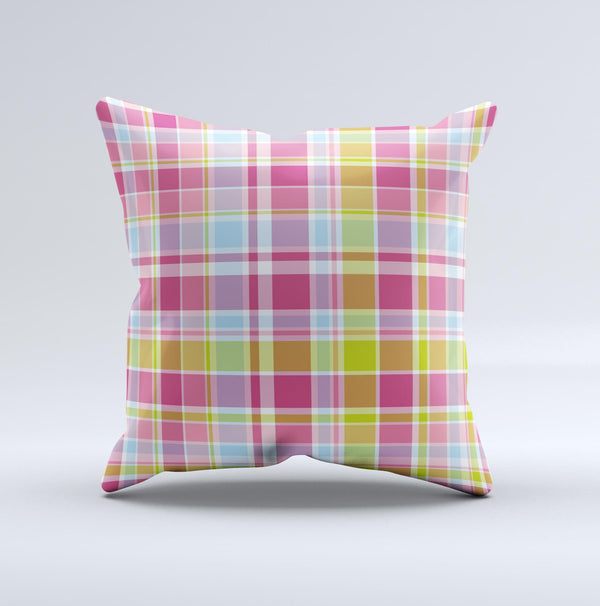 Yellow & Pink Plaid Ink-Fuzed Decorative Throw Pillow