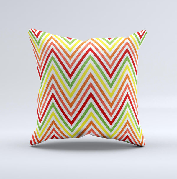 Yellow & Red Vintage Chevron Pattern Ink-Fuzed Decorative Throw Pillow