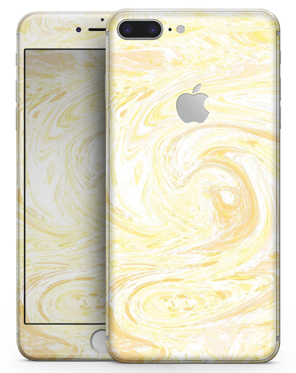 Yellow Slate Marble Surface V21 - Skin-kit for the iPhone 8 or 8 Plus