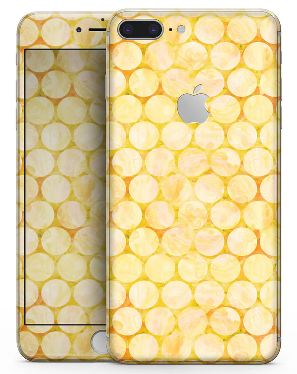 Yellow Sorted Large Watercolor Polka Dots - Skin-kit for the iPhone 8 or 8 Plus