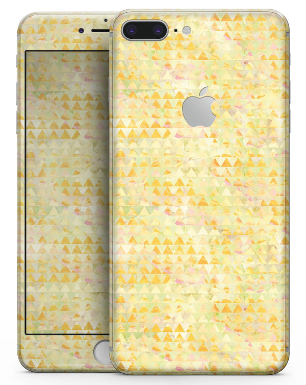 Yellow Textured Triangle Pattern - Skin-kit for the iPhone 8 or 8 Plus