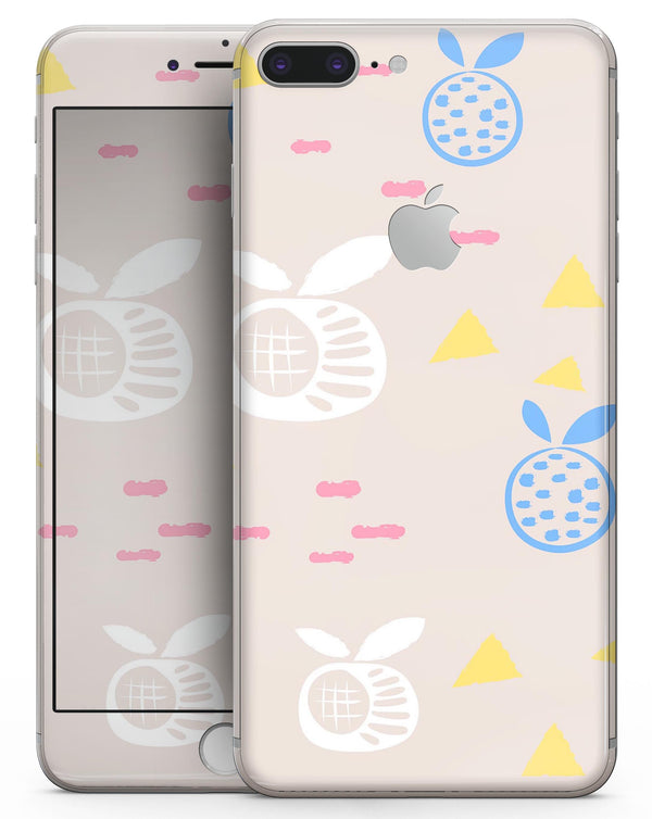 Yellow Triangles with Fruit - Skin-kit for the iPhone 8 or 8 Plus