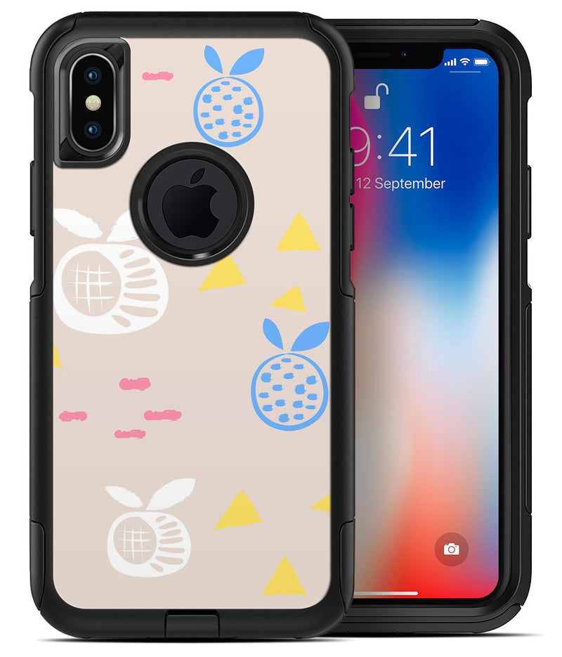 Yellow Triangles with Fruit - iPhone X OtterBox Case & Skin Kits