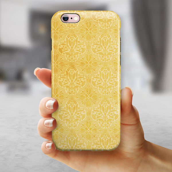 Yellow Vertical Damask Pattern iPhone 6/6s or 6/6s Plus 2-Piece Hybrid INK-Fuzed Case