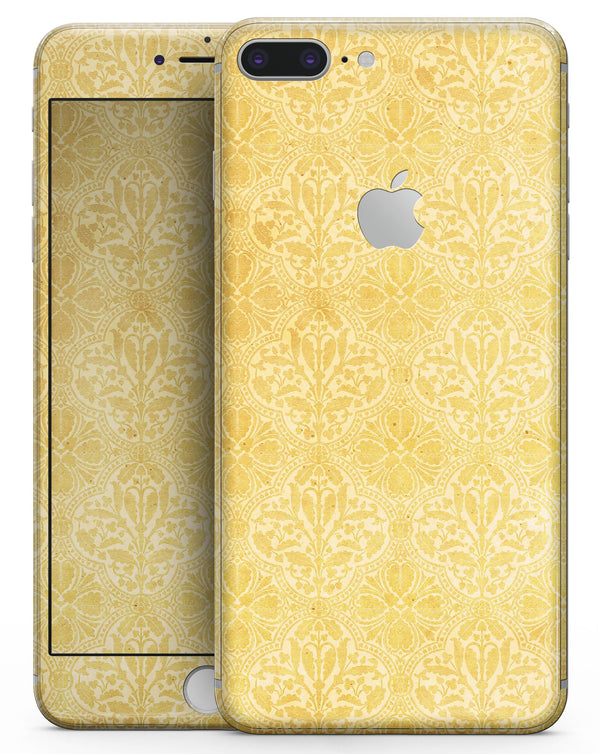 Yellow Vertical Damask Pattern - Skin-kit for the iPhone 8 or 8 Plus