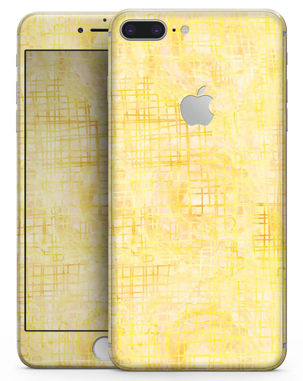 Yellow Watercolor Cross Hatch - Skin-kit for the iPhone 8 or 8 Plus