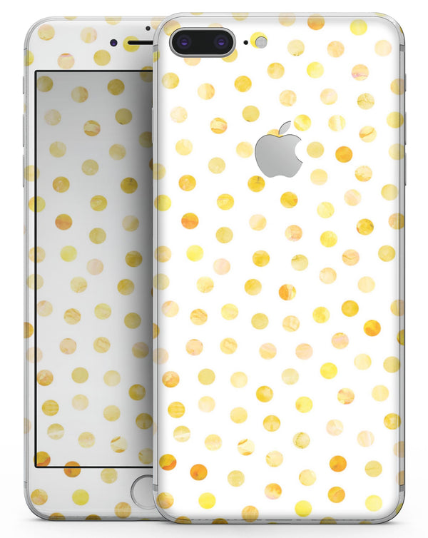 Yellow Watercolor Dots over White - Skin-kit for the iPhone 8 or 8 Plus