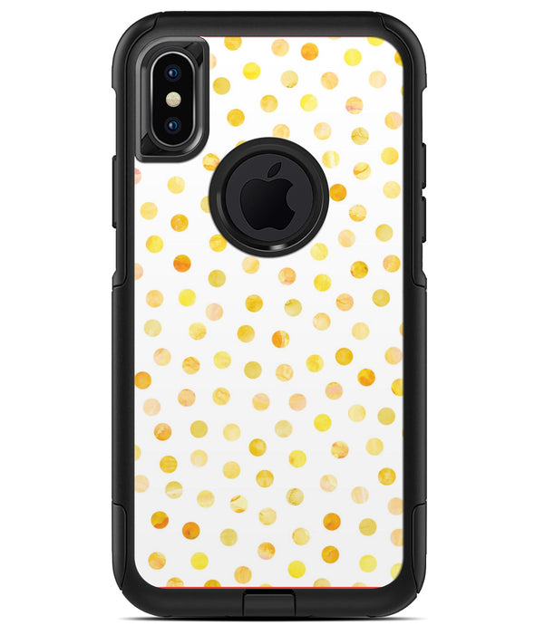 Yellow Watercolor Dots over White - iPhone X OtterBox Case & Skin Kits