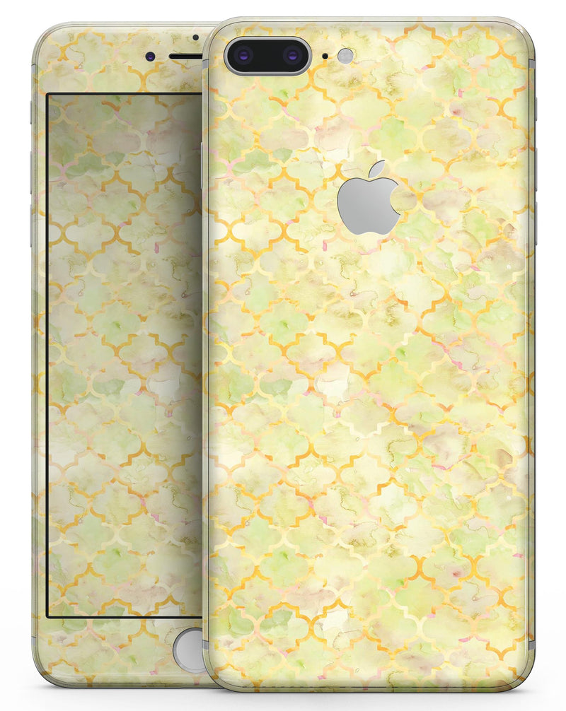 Yellow Watercolor Quatrefoil - Skin-kit for the iPhone 8 or 8 Plus