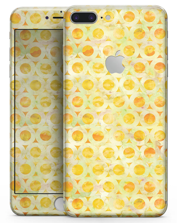 Yellow Watercolor Ring Pattern - Skin-kit for the iPhone 8 or 8 Plus