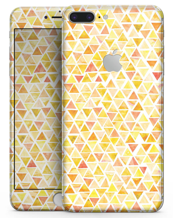 Yellow Watercolor Triangle Pattern - Skin-kit for the iPhone 8 or 8 Plus