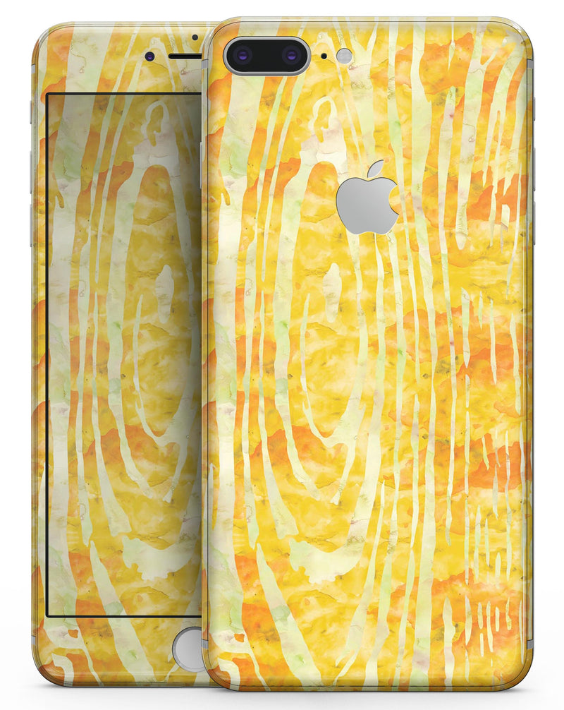 Yellow Watercolor Woodgrain - Skin-kit for the iPhone 8 or 8 Plus
