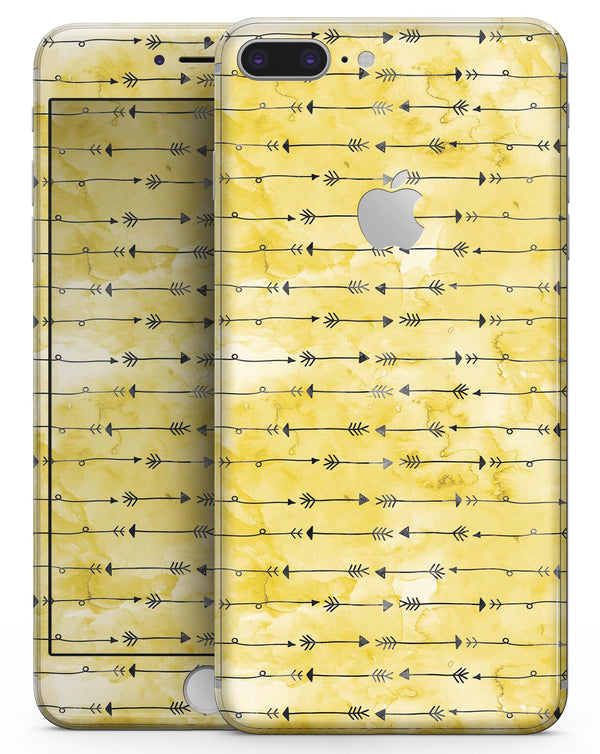Yellow and Black Tribal Arrow Pattern - Skin-kit for the iPhone 8 or 8 Plus