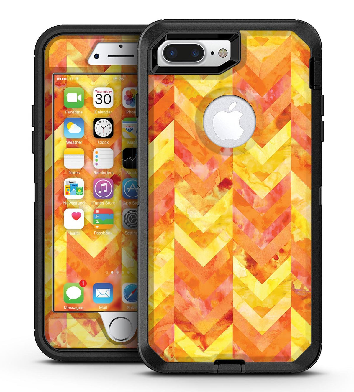 timeless design 7b796 021dc Yellow and Orange Watercolor Chevron Pattern - iPhone 7 Plus/8 Plus  OtterBox Case & Skin Kits
