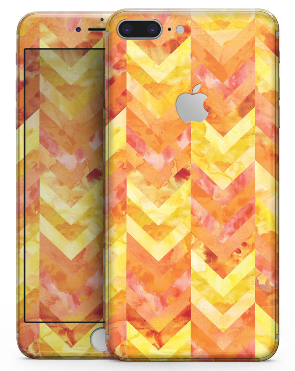 Yellow and Orange Watercolor Chevron Pattern - Skin-kit for the iPhone 8 or 8 Plus
