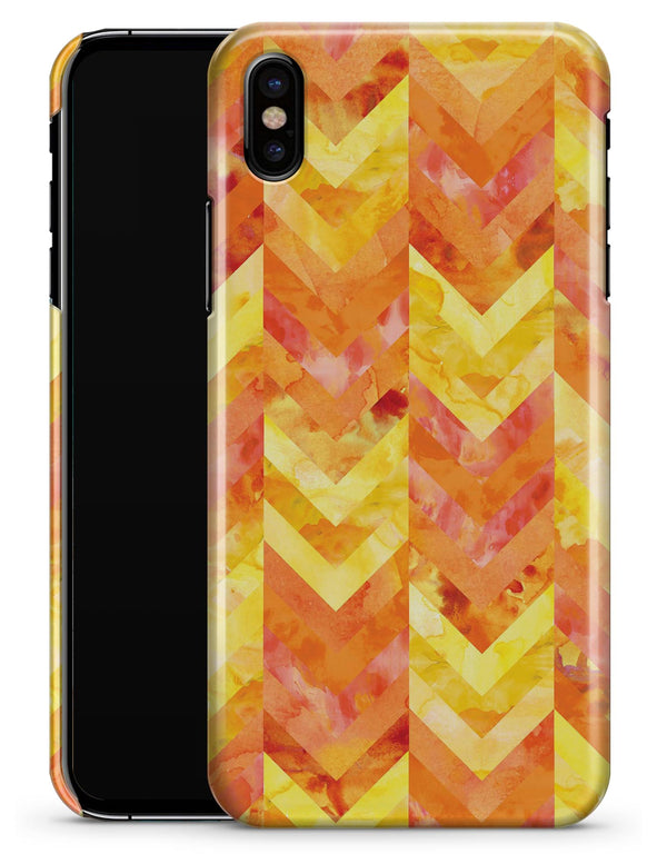 Yellow and Orange Watercolor Chevron Pattern - iPhone X Clipit Case