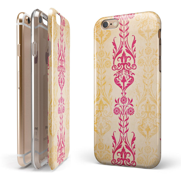 Yellow and Pink Floral Rococo Pattern iPhone 6/6s or 6/6s Plus 2-Piece Hybrid INK-Fuzed Case