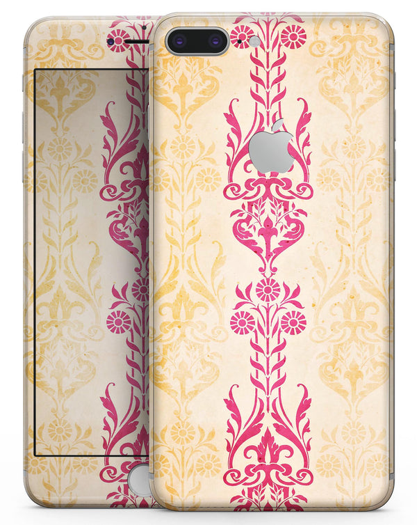 Yellow and Pink Floral Rococo Pattern - Skin-kit for the iPhone 8 or 8 Plus
