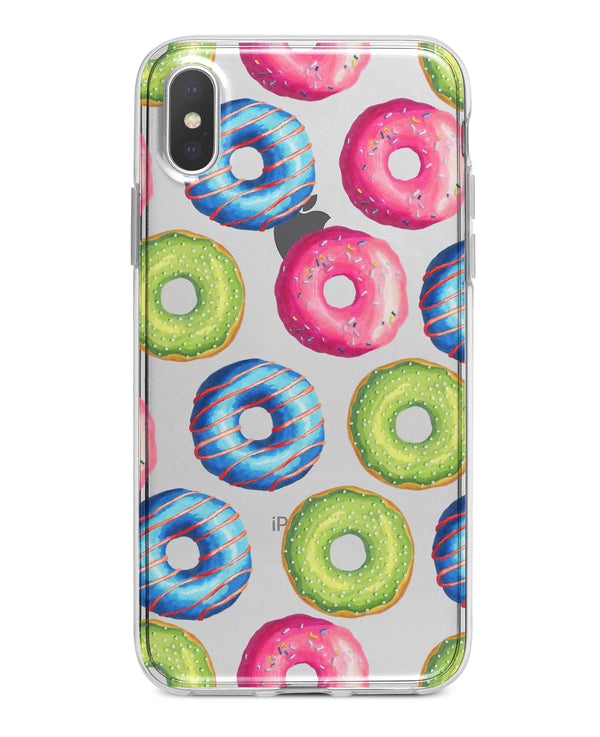 Yummy Colored Donut Galore - Crystal Clear Hard Case for the iPhone XS MAX, XS & More (ALL AVAILABLE)