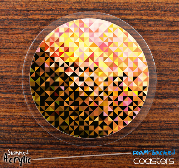 The Abstract Triangular Shaped Gold Skinned Foam-Backed Coaster Set
