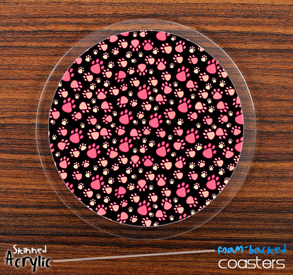 The Pink & Black Paw Print Skinned Foam-Backed Coaster Set