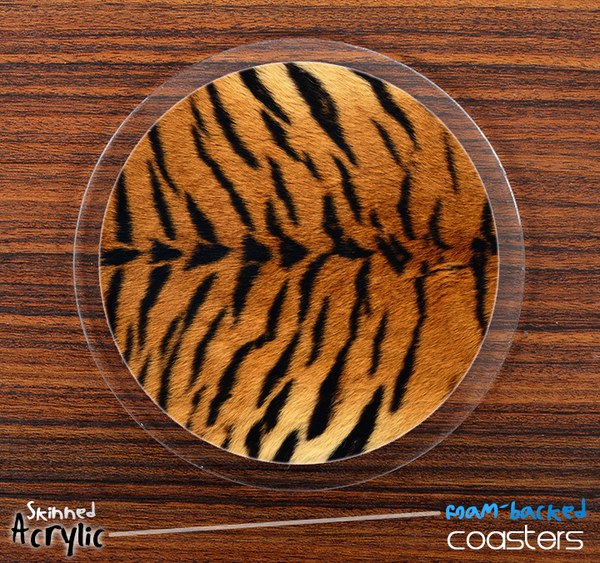 The Tiger Animal Print Skinned Foam-Backed Coaster Set