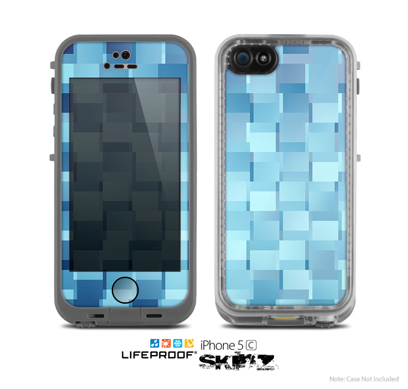The Abstract Blue Cubed Skin for the Apple iPhone 5c LifeProof Case