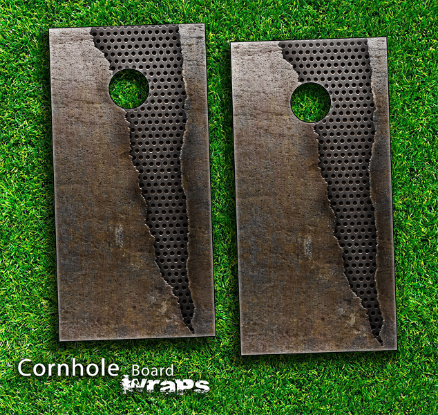 Ripped Rustic Metal Skin-set for a pair of Cornhole Boards