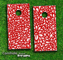 Red Floral Sprout Skin-set for a pair of Cornhole Boards