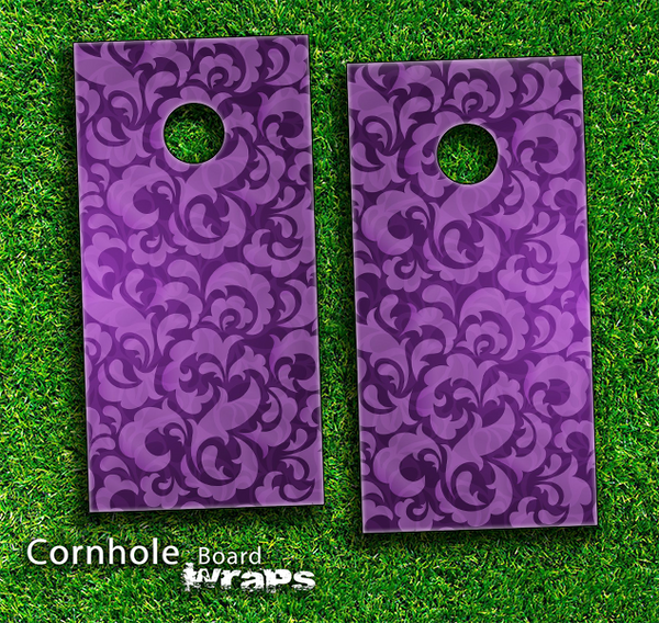 Purple Laced Pattern Skin-set for a pair of Cornhole Boards