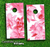 Fuzzy Abstract Pink Floral Skin-set for a pair of Cornhole Boards