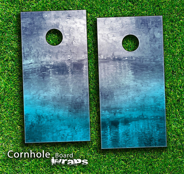 Abstract Oil Painting Skin-set for a pair of Cornhole Boards