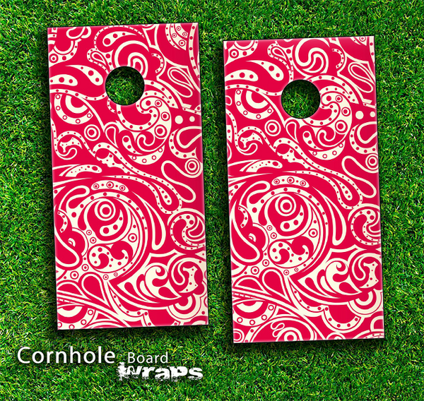 Red Paisley Pattern Skin-set for a pair of Cornhole Boards