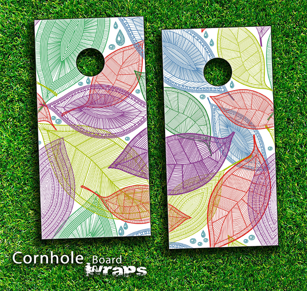 Seamless Floral Leaves Skin-set for a pair of Cornhole Boards