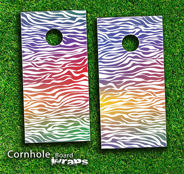 Colorful Zebra Print Skin-set for a pair of Cornhole Boards