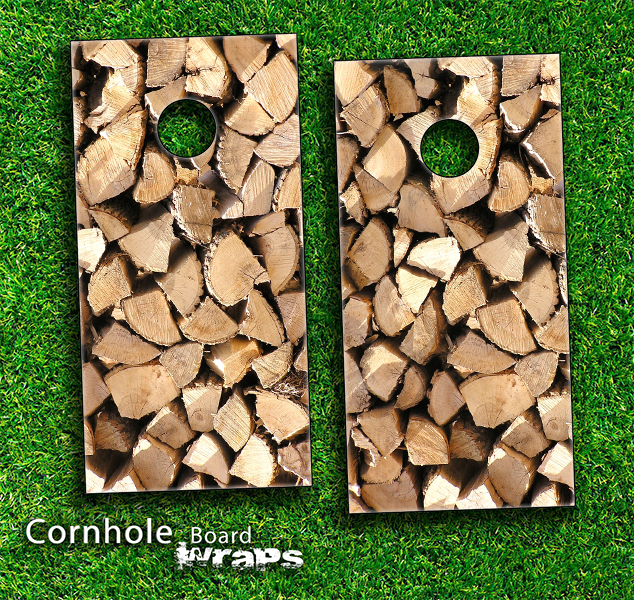 Wood Log Ends Skin-set for a pair of Cornhole Boards