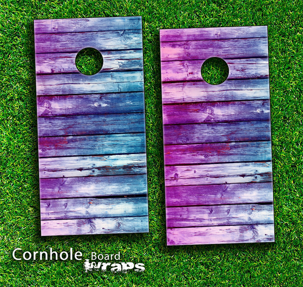 Pink & Blue Dyed Wood Skin-set for a pair of Cornhole Boards