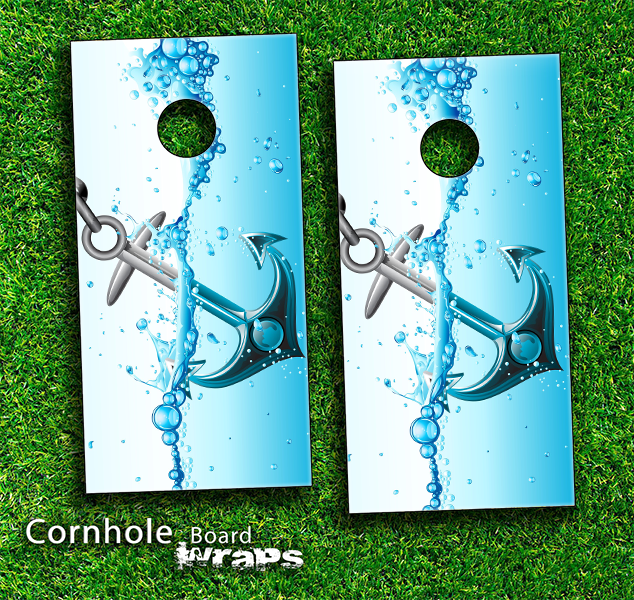 Anchor Splashing Skin-set for a pair of Cornhole Boards