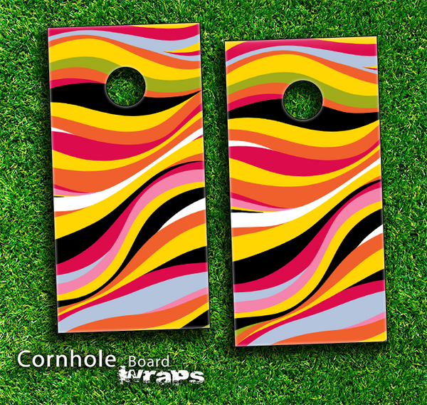 Colorful Abstract Skin-set for a pair of Cornhole Boards