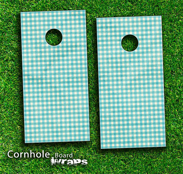 Blue Plaid Skin-set for a pair of Cornhole Boards