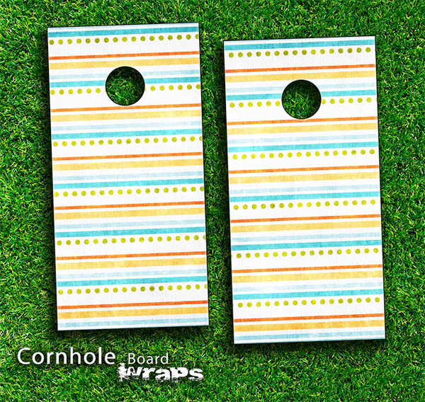 Colorful Dots and Stripes Skin-set for a pair of Cornhole Boards