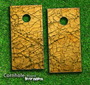 Cracked Yellow SurfaceSkin-set for a pair of Cornhole Boards