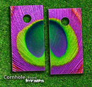 Neon Peacock Feather Skin-set for a pair of Cornhole Boards