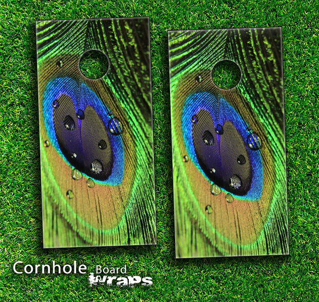 Wet Peacock Feather Skin-set for a pair of Cornhole Boards