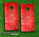 Cracked Red Surface Skin-set for a pair of Cornhole Boards