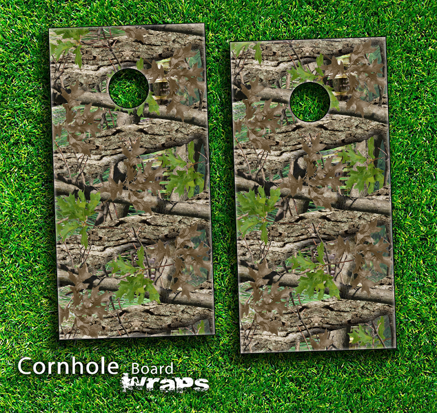 Vibrant Real Woods Camouflage Skin-set for a pair of Cornhole Boards