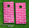 Pink Brick Wall Skin-set for a pair of Cornhole Boards