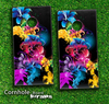 Neon Abstract Floral Skin-set for a pair of Cornhole Boards