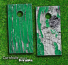 Green Aged Wood Skin-set for a pair of Cornhole Boards