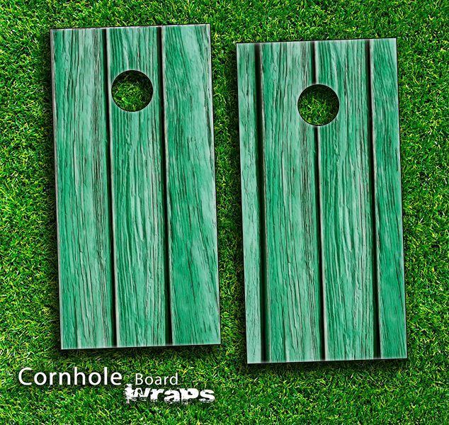 Green Wood Skin-set for a pair of Cornhole Boards